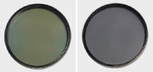 変色したPLフィルターと、新品のPLフィルターの画像