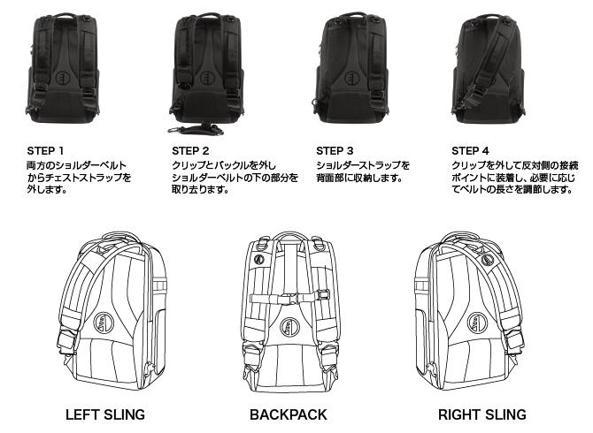 ベルトを付け替えて、スリングバッグとして使用することができます。
